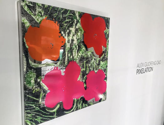 image of flowers made of photo mosaic by Alex Guofeng Cao at Fremin Gallery in NYC